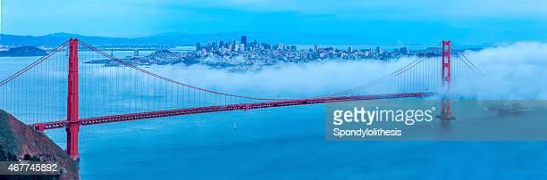 Golden Gate Bridge with low fog, San Francisco Panorama