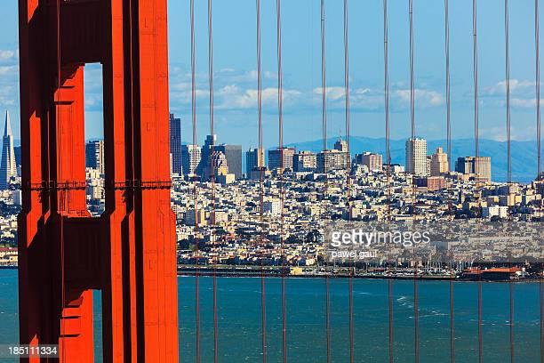 Golden Gate bridge with San Francisco skyline in background