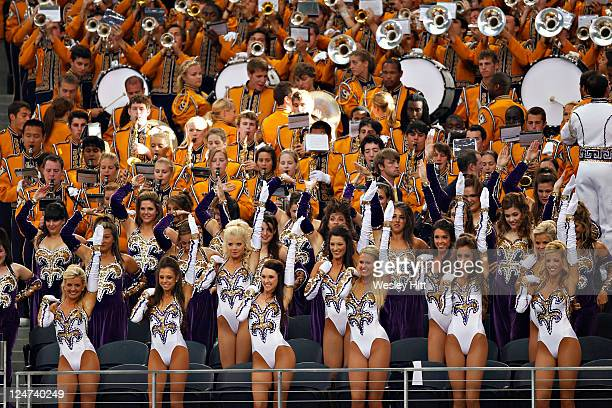 Golden Girls and Band perform before a game against the Oregon Ducks at Cowboys Stadium on September 3 2011 in Arlington Texas The Tigers defeated...