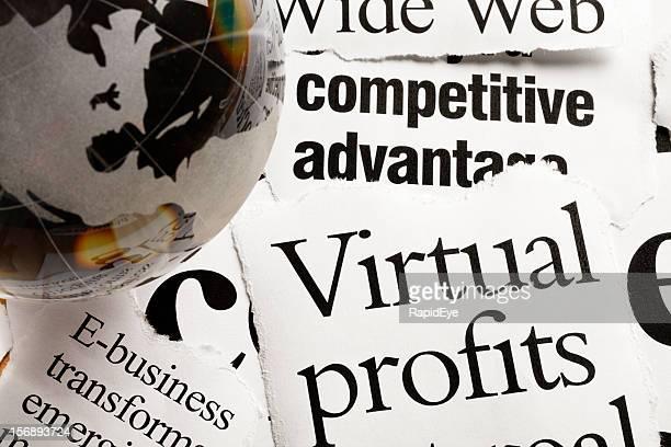 dorata in vetro fermacarte su e-business titoli e virtuali profitti - mondo beat foto e immagini stock