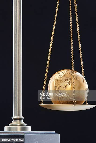 Golden globe in scale, close-up
