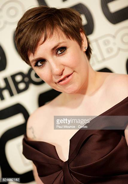 Golden Globe winner Lena Dunham arrives at the HBO AfterParty celebrating the 70th Golden Globes