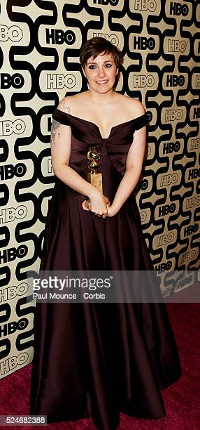 Golden Globe winner Lena Dunham arrives at the HBO After-Party celebrating the 70th Golden Globes.
