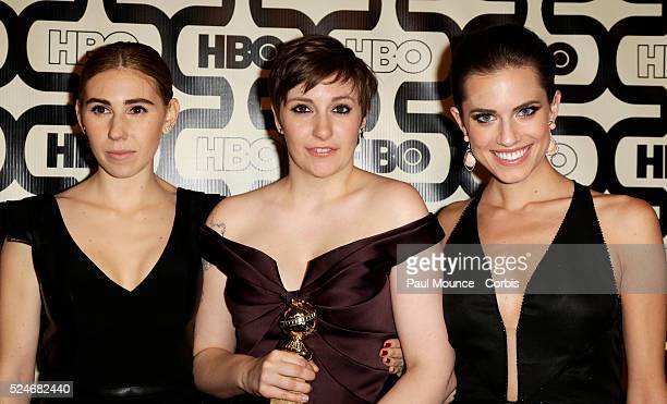 Golden Globe winner Lena Dunham with Zosia Mamet and Allison Williams arrive at the HBO After-Party celebrating the 70th Golden Globes.