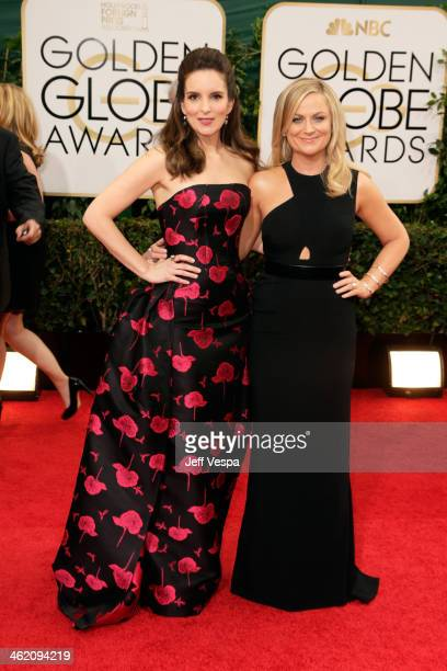 Golden Globes co-hosts Tina Fey and Amy Poehler attend the 71st Annual Golden Globe Awards held at The Beverly Hilton Hotel on January 12, 2014 in...