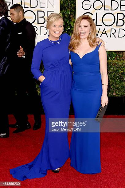 Golden Globes Host and Actress Amy Poehler and actress Natasha Lyonne attend the 72nd Annual Golden Globe Awards at The Beverly Hilton Hotel on...