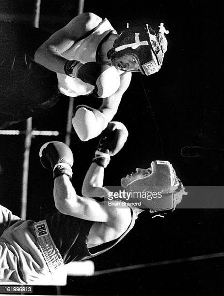 APR 19 1992 Golden Gloves Robbie Lovato looks for his opening against Antonio Orozco of Colorado on his way to the 119 class A Championship in the...