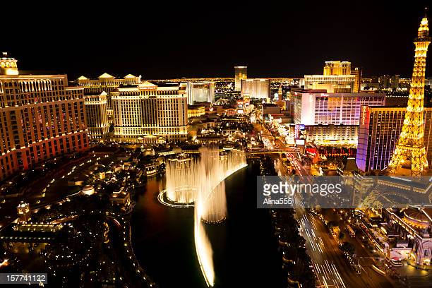 Golden glow of Las Vegas Strip at night