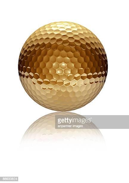 Golden Golf Ball on white Background