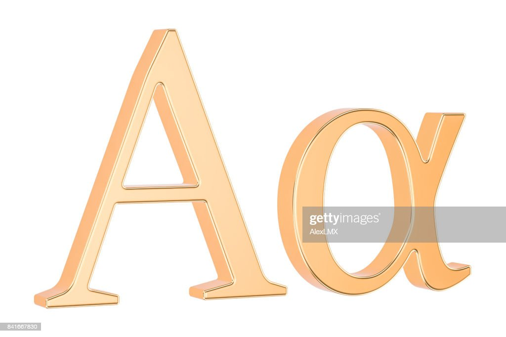 Golden Greek Letter Alpha 3d Rendering Isolated On White Background
