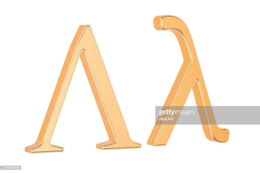 Golden Greek letter Lambda, 3D rendering isolated on white background : Stock Photo