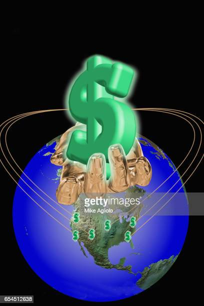 golden hand holding dollar sign over north america - mike agliolo stock pictures, royalty-free photos & images