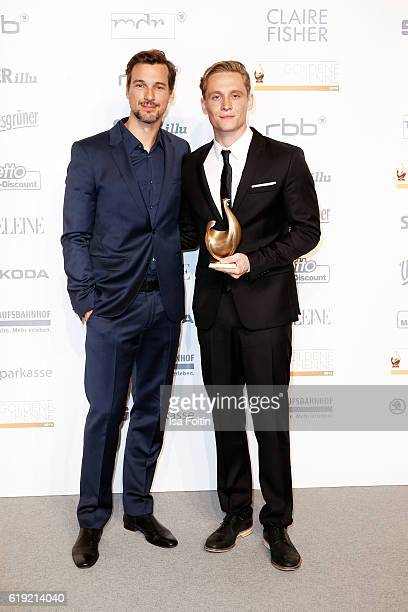 Golden Henne award winners german actor Florian David Fitz and german actor and producer Matthias Schweighoefer attend the Goldene Henne on October...