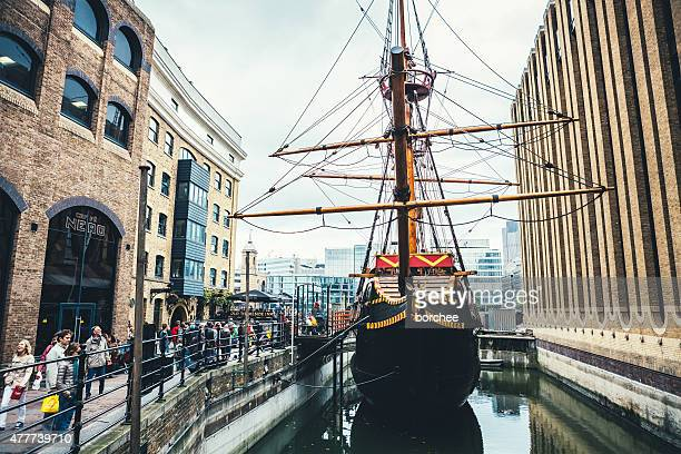 golden hinde ii ship in london - golden hind ship stock photos and pictures
