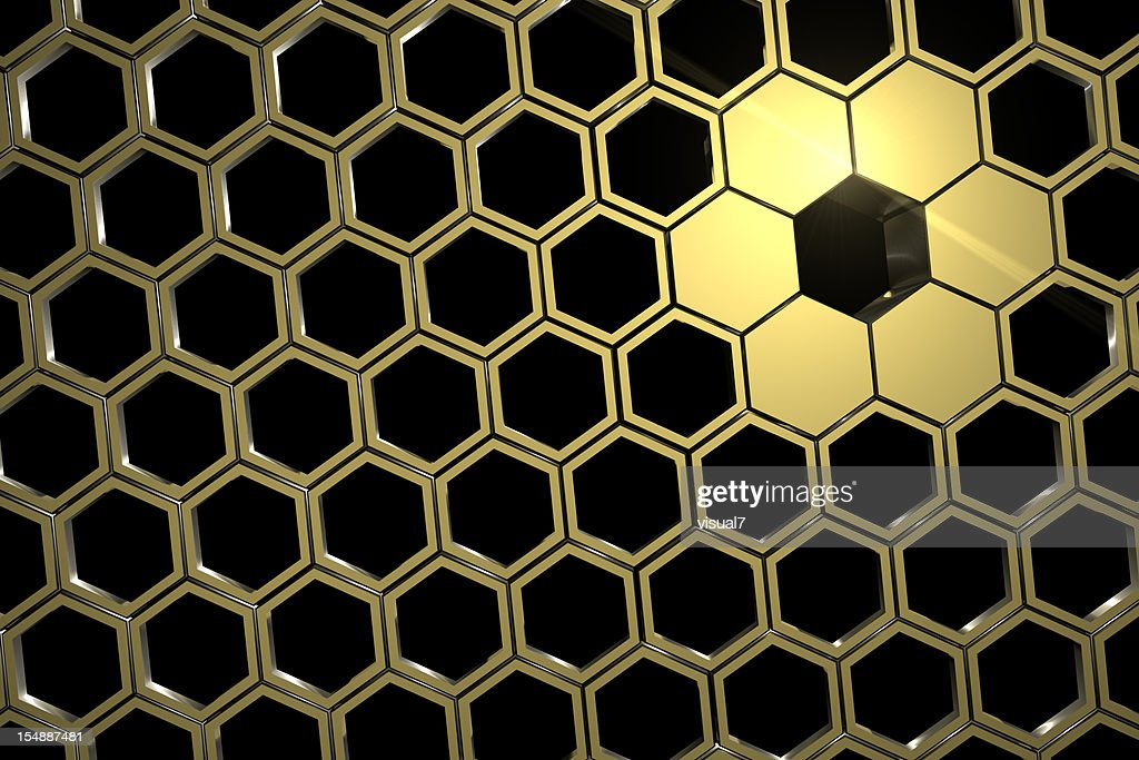 golden honeycomb mesh : Stock Photo