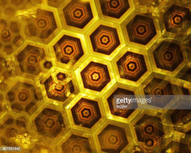 golden honeycomb texture, gold hexagon clusters digital illustration, abstract geometric background