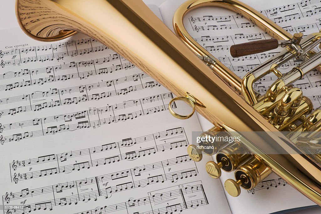 All Music Chords golden sheet music : Golden Horn Laying On Sheet Music Stock Photo | Getty Images
