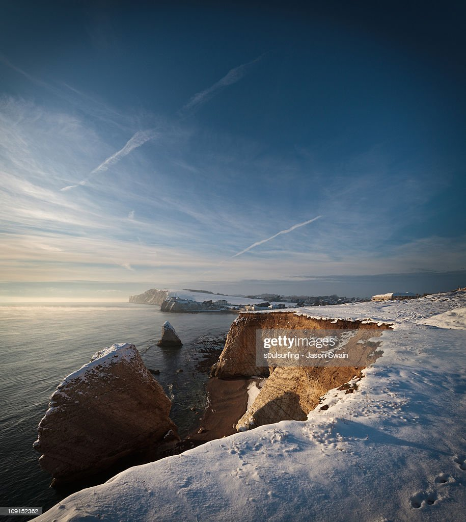 Golden hour in the snow at Freshwater Bay : Stock Photo