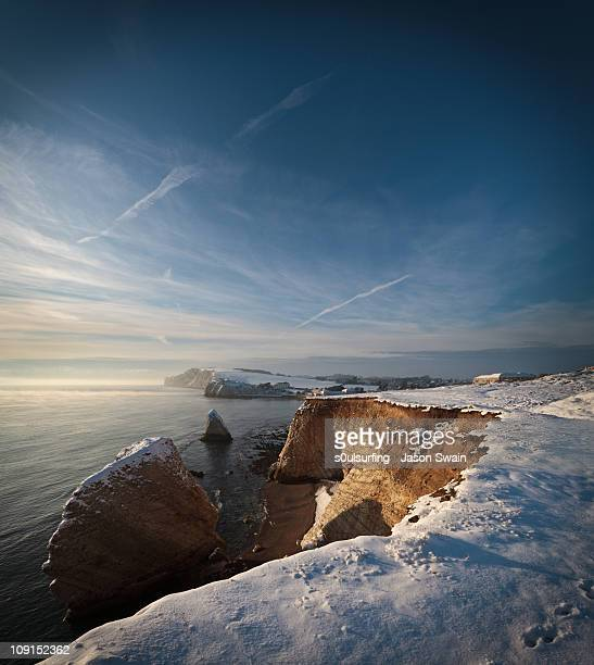 golden hour in the snow at freshwater bay - s0ulsurfing stock pictures, royalty-free photos & images