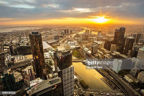 Golden Hour Melbourne cityscape