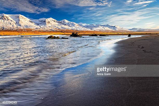 Golden hour on beach at Vopnafjordur, Iceland