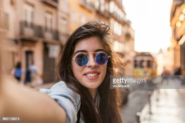 golden hour selfie in lisbon streets - golden hour stock pictures, royalty-free photos & images