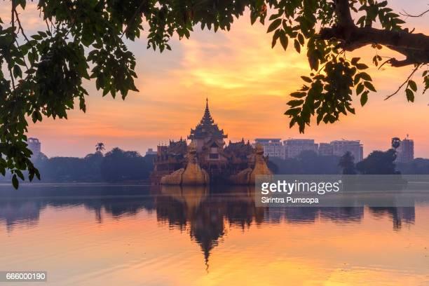 Golden Karaweik palace in Kandawgyi Royal Lake, Yangon, Myanmar