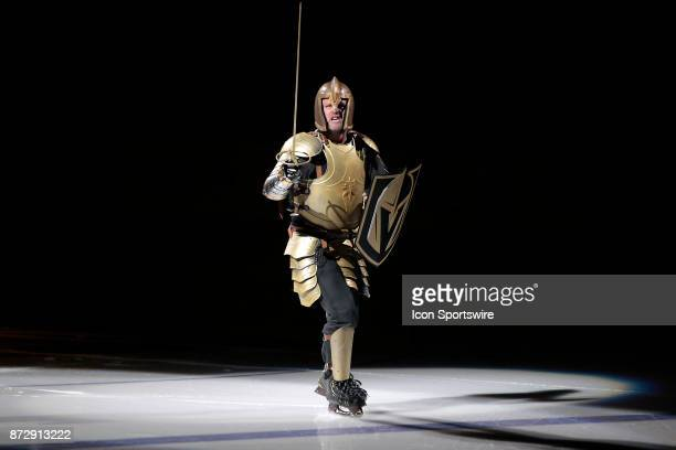 Golden Knight performs prior to the game between the Vegas Golden Knights and the Winnipeg Jets on November 10 2017 at TMobile Arena in Las Vegas NV