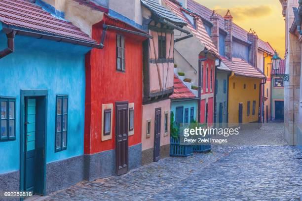 golden lane, the famous medieval street of prague, czech republic - prag bildbanksfoton och bilder
