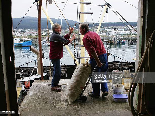 Golden Lea crew members Bob Blair and Russell Dixon unload the day's catch at her home port on March 27 2007 in Bluff New Zealand The Golden Lea was...