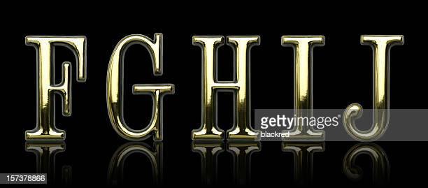Golden Letters - F G H I J