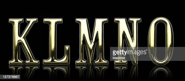 Golden Letters - K L M N O