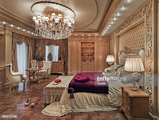 golden luxury bedroom in a private house - gold shoe stock pictures, royalty-free photos & images