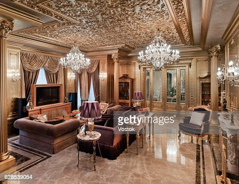 golden living room golden luxury living room in the house stock photo 10155