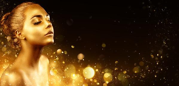 Golden Makeup - Fashion Portrait With Golden Skin 1024909528