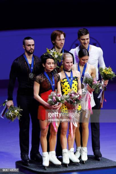 Golden medalists Evgenia Tarasova and Vladimir Morozov of Russia Silver medalists Ksenia Stolbova and Fedor Klimov of Russia Bronze medalists Natalia...