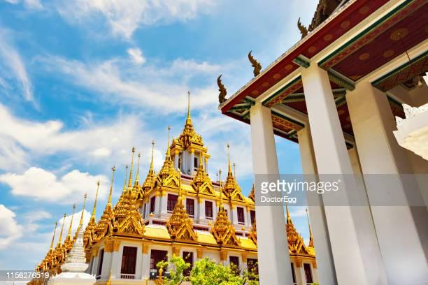 Golden Metal Castle, Loha Prasat of Wat Ratchanadda Temple,Landmark of Bangkok, Thailand