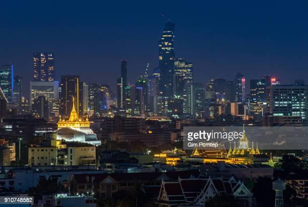 Golden Mountain and Loha Prasat Wat Ratchanatdaram is temple of bangkok, thailand