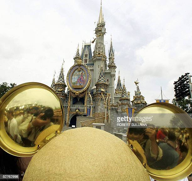 Golden mouse ears are shown 05 May 2005 at Disney World in Lake Buena Vista Florida The park is taking part in Disney's 50th Anniversary The park is...
