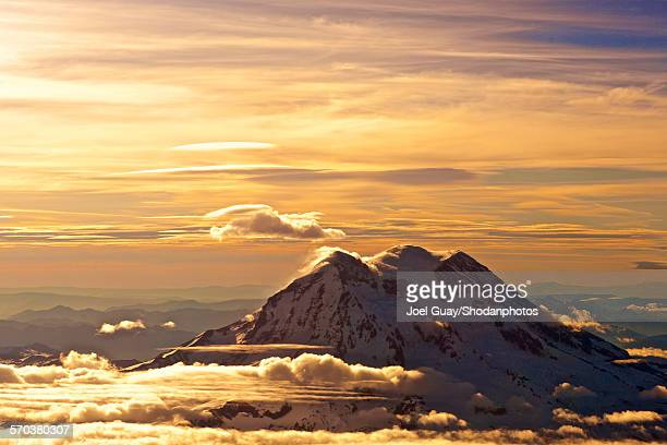 Golden mt rainier and clouds