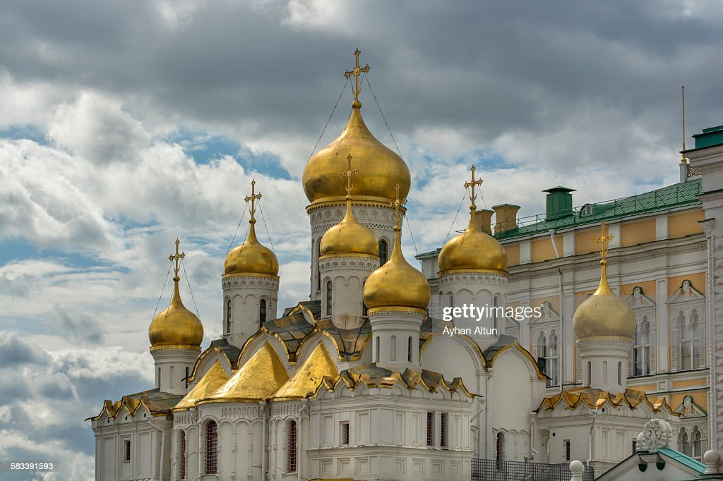 Golden onion domes of the cathedral Annunciation : Stock Photo