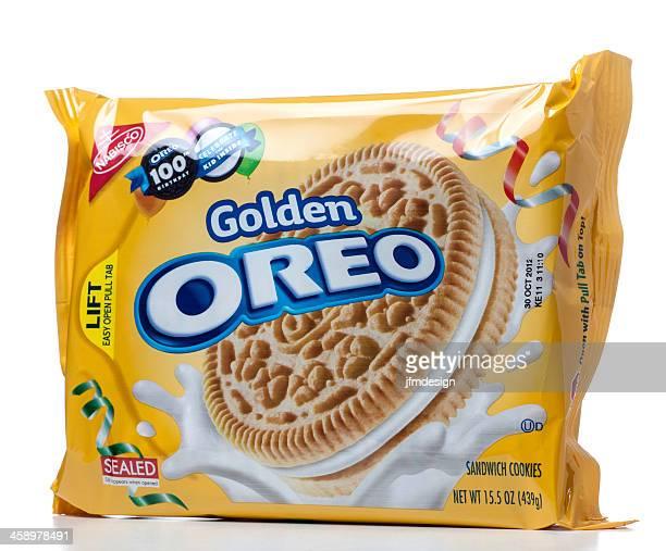 Golden Oreo sandwich cookies package