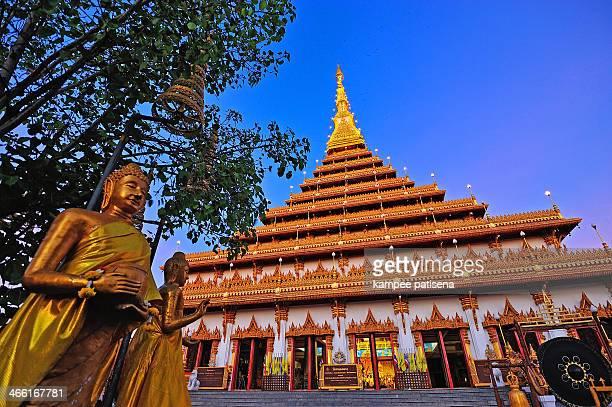 Golden pagoda at Wat Nong Wang temple, Khonkaen Thailand.