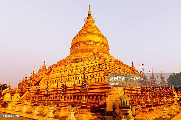 golden pagoda in bagan - association of southeast asian nations stock photos and pictures