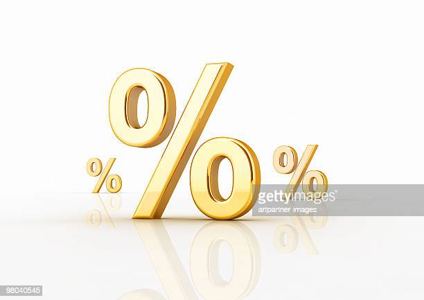 Golden Percentage Signs on White