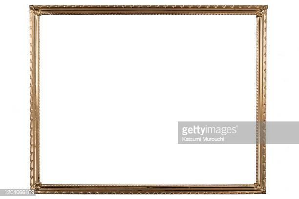golden picture frame background - 囲い ストックフォトと画像