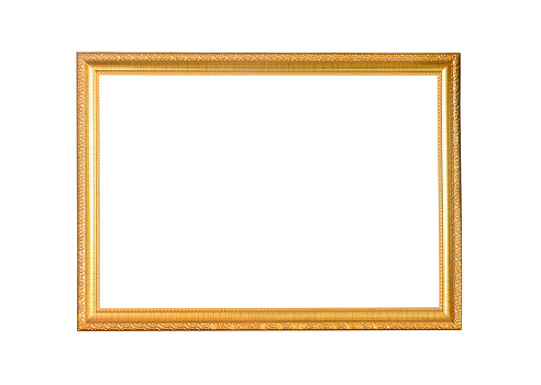 golden picture frame isolated on white background 1149744815