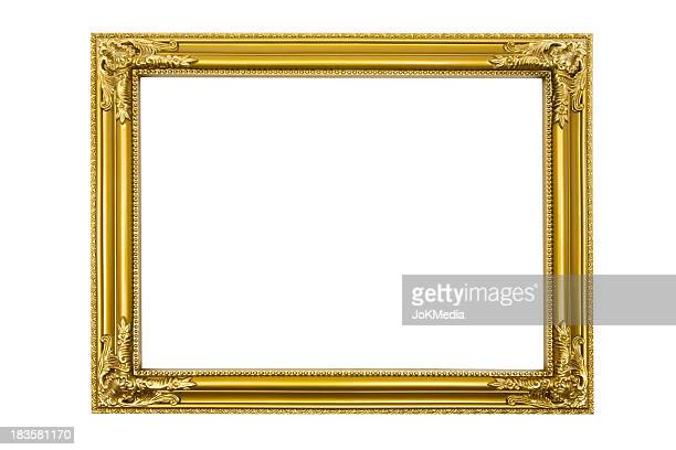 golden picture frame (clipping path included) - ornate stock pictures, royalty-free photos & images