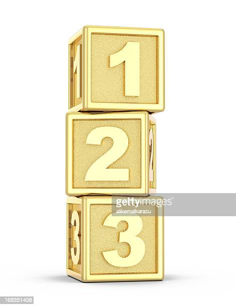 golden play blocks - number 3 stock pictures, royalty-free photos & images