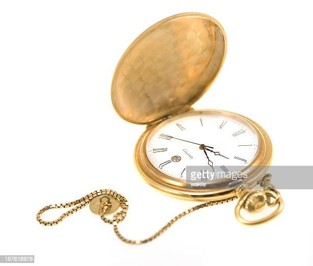 golden pocket watch isolated on white - gold chain necklace stock pictures, royalty-free photos & images